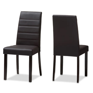 Baxton Studio Lorelle Modern and Contemporary Brown Faux Leather Upholstered Dining Chair (Set of 2) Baxton Studio-dining chair-Minimal And Modern - 1