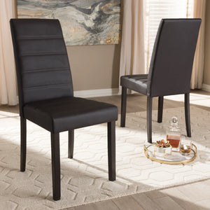 Baxton Studio Lorelle Modern and Contemporary Brown Faux Leather Upholstered Dining Chair (Set of 2) Baxton Studio-dining chair-Minimal And Modern - 6