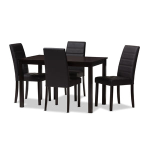 Baxton Studio Lorelle Modern and Contemporary Brown Faux Leather Upholstered 5-Piece Dining Set Baxton Studio-0-Minimal And Modern - 1