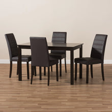 Baxton Studio Lorelle Modern and Contemporary Brown Faux Leather Upholstered 5-Piece Dining Set Baxton Studio-0-Minimal And Modern - 5