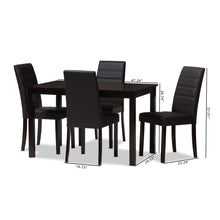 Baxton Studio Lorelle Modern and Contemporary Brown Faux Leather Upholstered 5-Piece Dining Set Baxton Studio-0-Minimal And Modern - 6