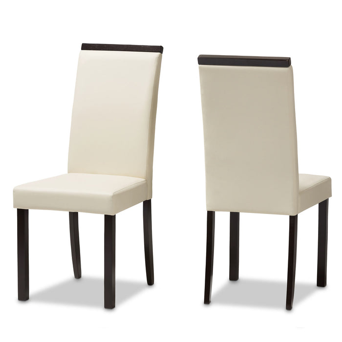 Baxton Studio Daveney Modern and Contemporary Cream Faux Leather Upholstered Dining Chair (Set of 2) Baxton Studio-dining chair-Minimal And Modern - 1