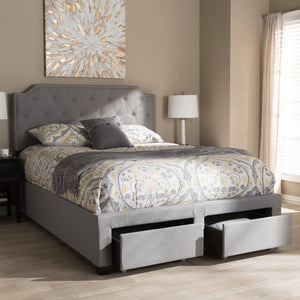 Baxton Studio Aubrianne Modern and Contemporary Grey Fabric Upholstered Queen Storage Bed Baxton Studio-beds-Minimal And Modern - 2