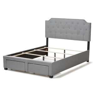 Baxton Studio Aubrianne Modern and Contemporary Grey Fabric Upholstered Queen Storage Bed Baxton Studio-beds-Minimal And Modern - 8