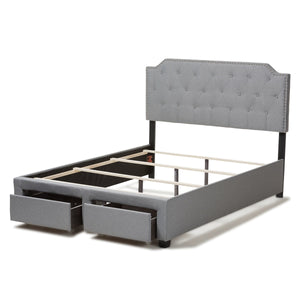 Baxton Studio Aubrianne Modern and Contemporary Grey Fabric Upholstered Queen Storage Bed Baxton Studio-beds-Minimal And Modern - 9