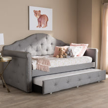 Baxton Studio Emilie Modern and Contemporary Grey Fabric Upholstered Daybed with Trundle