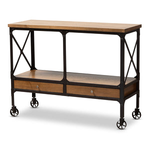 Baxton Studio Alves Vintage Rustic Industrial Style Wood and Dark Bronze Finished Metal Wheeled Console Table with Drawers Baxton Studio-0-Minimal And Modern - 1