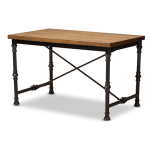 Baxton Studio Verdin Vintage Rustic Industrial Style Wood and Dark Bronze-finished Criss Cross Desk Baxton Studio-Desks-Minimal And Modern - 1