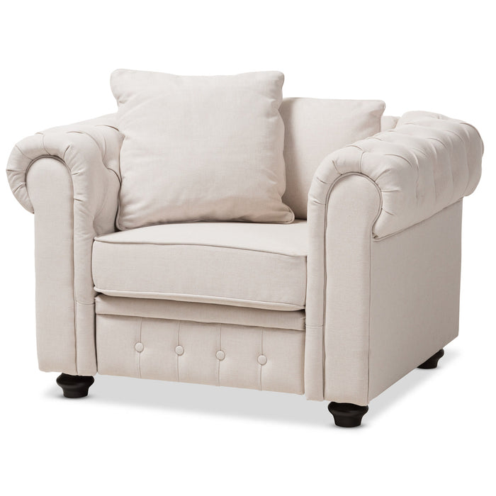 Baxton Studio Alaise Modern Classic Beige Linen Tufted Scroll Arm Chesterfield Chair Baxton Studio-chairs-Minimal And Modern - 1