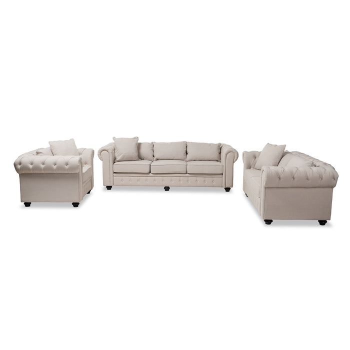 Baxton Studio Alaise Modern Classic Beige Linen Tufted Scroll Arm Chesterfield 3-Piece Living Room Set Baxton Studio-0-Minimal And Modern - 1