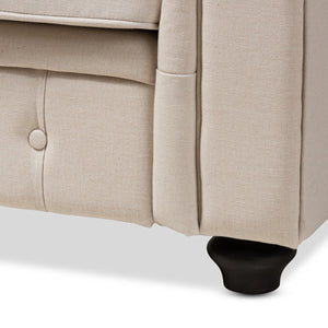 Baxton Studio Alaise Modern Classic Beige Linen Tufted Scroll Arm Chesterfield 3-Piece Living Room Set Baxton Studio-0-Minimal And Modern - 3