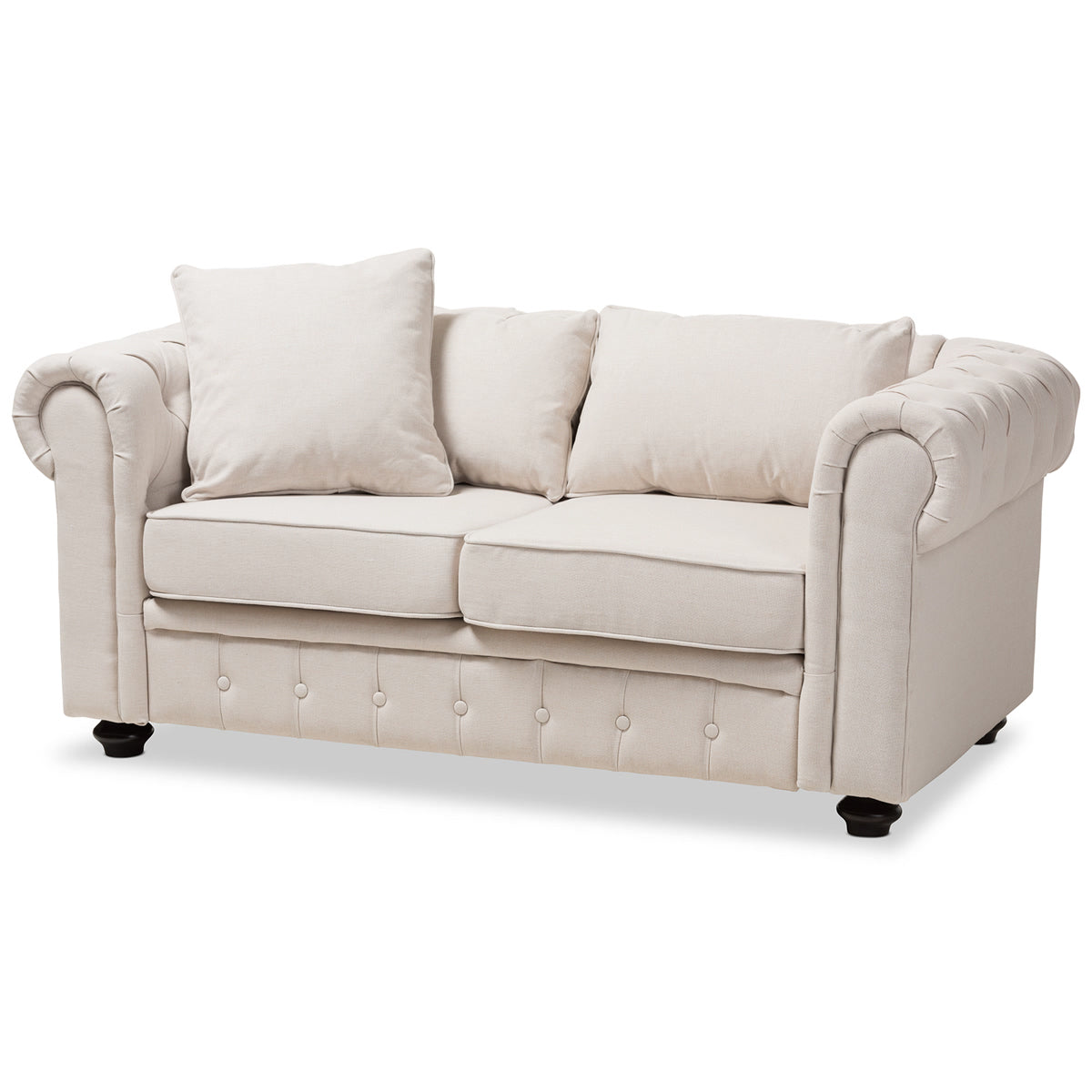Baxton Studio Alaise Modern Classic Beige Linen Tufted Scroll Arm Chesterfield Loveseat Baxton Studio-sofas-Minimal And Modern - 1