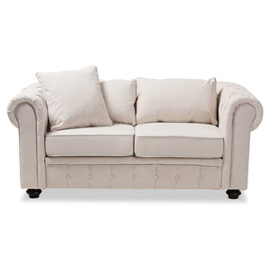 Baxton Studio Alaise Modern Classic Beige Linen Tufted Scroll Arm Chesterfield Loveseat Baxton Studio-sofas-Minimal And Modern - 2