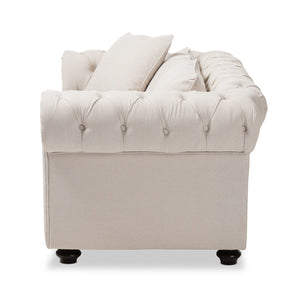 Baxton Studio Alaise Modern Classic Beige Linen Tufted Scroll Arm Chesterfield Loveseat Baxton Studio-sofas-Minimal And Modern - 3