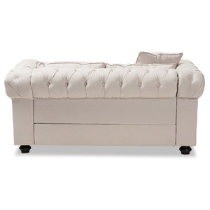 Baxton Studio Alaise Modern Classic Beige Linen Tufted Scroll Arm Chesterfield Loveseat Baxton Studio-sofas-Minimal And Modern - 4