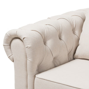 Baxton Studio Alaise Modern Classic Beige Linen Tufted Scroll Arm Chesterfield Loveseat Baxton Studio-sofas-Minimal And Modern - 5