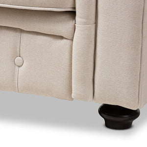 Baxton Studio Alaise Modern Classic Beige Linen Tufted Scroll Arm Chesterfield Loveseat Baxton Studio-sofas-Minimal And Modern - 6