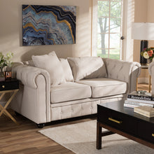 Baxton Studio Alaise Modern Classic Beige Linen Tufted Scroll Arm Chesterfield Loveseat Baxton Studio-sofas-Minimal And Modern - 7