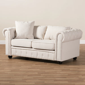 Baxton Studio Alaise Modern Classic Beige Linen Tufted Scroll Arm Chesterfield Loveseat Baxton Studio-sofas-Minimal And Modern - 8