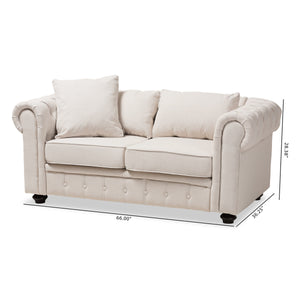 Baxton Studio Alaise Modern Classic Beige Linen Tufted Scroll Arm Chesterfield Loveseat Baxton Studio-sofas-Minimal And Modern - 9