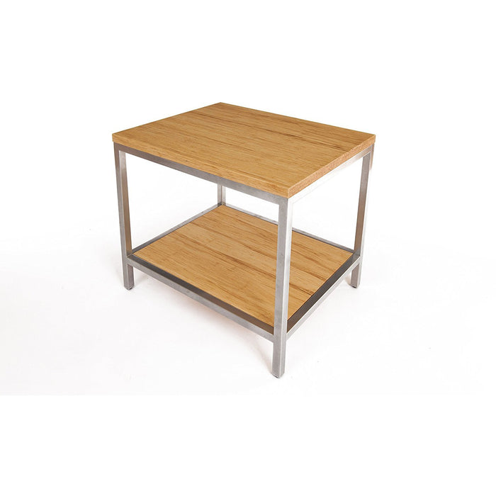 Bamboogle Timber Square Side Table With Silver Legs BKL-30-S-2424-T-Minimal & Modern