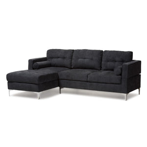 Baxton Studio Mireille Modern and Contemporary Dark Grey Fabric Upholstered Sectional Sofa Baxton Studio-sofas-Minimal And Modern - 1