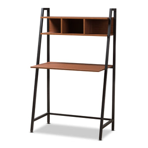 Baxton Studio Ethan Rustic Industrial Style Brown Wood and Metal Desk Baxton Studio-Desks-Minimal And Modern - 1