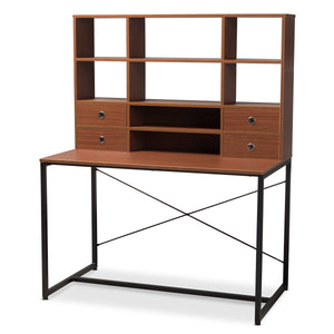 Baxton Studio Edwin Rustic Industrial Style Brown Wood and Metal 2-in-1 Bookcase Writing Desk Baxton Studio-Desks-Minimal And Modern - 1