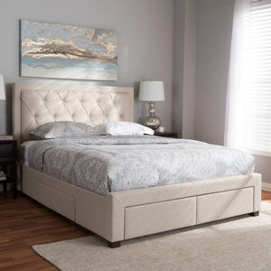 Baxton Studio Aurelie Modern and Contemporary Light Beige Fabric Upholstered King Size Storage Bed Baxton Studio-beds-Minimal And Modern - 2