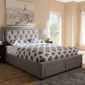 Baxton Studio Aurelie Modern and Contemporary Light Grey Fabric Upholstered King Size Storage Bed Baxton Studio-beds-Minimal And Modern - 2