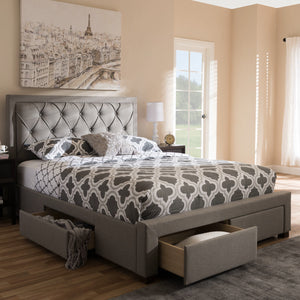 Baxton Studio Aurelie Modern and Contemporary Light Grey Fabric Upholstered King Size Storage Bed Baxton Studio-beds-Minimal And Modern - 3