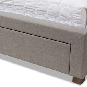 Baxton Studio Aurelie Modern and Contemporary Light Grey Fabric Upholstered Queen Size Storage Bed Baxton Studio-beds-Minimal And Modern - 12