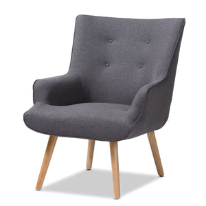 Baxton Studio Alden Mid-Century Modern Dark Grey Fabric Upholstered Natural Finished Wood Lounge Chair Baxton Studio-chairs-Minimal And Modern - 1