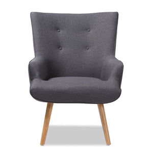 Baxton Studio Alden Mid-Century Modern Dark Grey Fabric Upholstered Natural Finished Wood Lounge Chair Baxton Studio-chairs-Minimal And Modern - 2