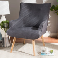 Baxton Studio Alden Mid-Century Modern Dark Grey Fabric Upholstered Natural Finished Wood Lounge Chair Baxton Studio-chairs-Minimal And Modern - 7