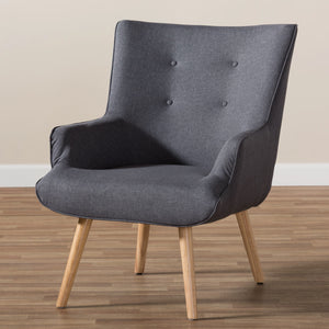 Baxton Studio Alden Mid-Century Modern Dark Grey Fabric Upholstered Natural Finished Wood Lounge Chair Baxton Studio-chairs-Minimal And Modern - 8