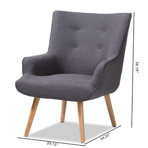 Baxton Studio Alden Mid-Century Modern Dark Grey Fabric Upholstered Natural Finished Wood Lounge Chair Baxton Studio-chairs-Minimal And Modern - 9