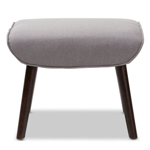 Baxton Studio Alden Mid-Century Modern Light Grey Fabric Upholstered Dark Brown Finished Wood Ottoman Baxton Studio-ottomans-Minimal And Modern - 2
