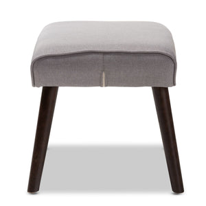 Baxton Studio Alden Mid-Century Modern Light Grey Fabric Upholstered Dark Brown Finished Wood Ottoman Baxton Studio-ottomans-Minimal And Modern - 3