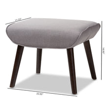 Baxton Studio Alden Mid-Century Modern Light Grey Fabric Upholstered Dark Brown Finished Wood Ottoman Baxton Studio-ottomans-Minimal And Modern - 6