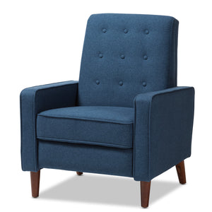 Baxton Studio Mathias Mid-century Modern Blue Fabric Upholstered Lounge Chair Baxton Studio-chairs-Minimal And Modern - 1