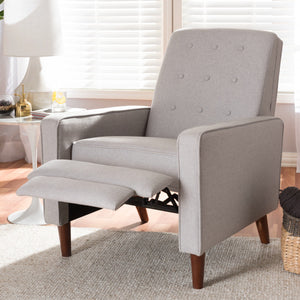Baxton Studio Mathias Mid-century Modern Light Grey Fabric Upholstered Lounge Chair Baxton Studio-chairs-Minimal And Modern - 2