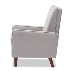 Baxton Studio Mathias Mid-century Modern Light Grey Fabric Upholstered Lounge Chair Baxton Studio-chairs-Minimal And Modern - 8
