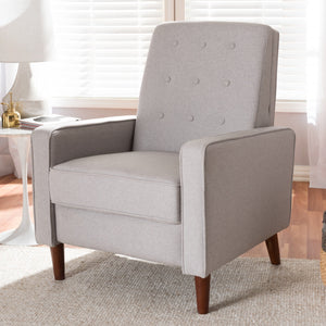 Baxton Studio Mathias Mid-century Modern Light Grey Fabric Upholstered Lounge Chair Baxton Studio-chairs-Minimal And Modern - 12