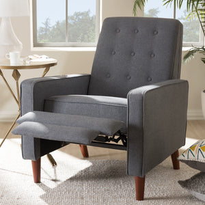 Baxton Studio Mathias Mid-century Modern Grey Fabric Upholstered Lounge Chair Baxton Studio-chairs-Minimal And Modern - 2