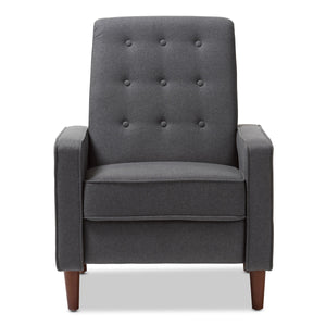 Baxton Studio Mathias Mid-century Modern Grey Fabric Upholstered Lounge Chair Baxton Studio-chairs-Minimal And Modern - 7