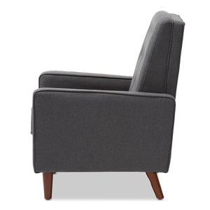 Baxton Studio Mathias Mid-century Modern Grey Fabric Upholstered Lounge Chair Baxton Studio-chairs-Minimal And Modern - 8