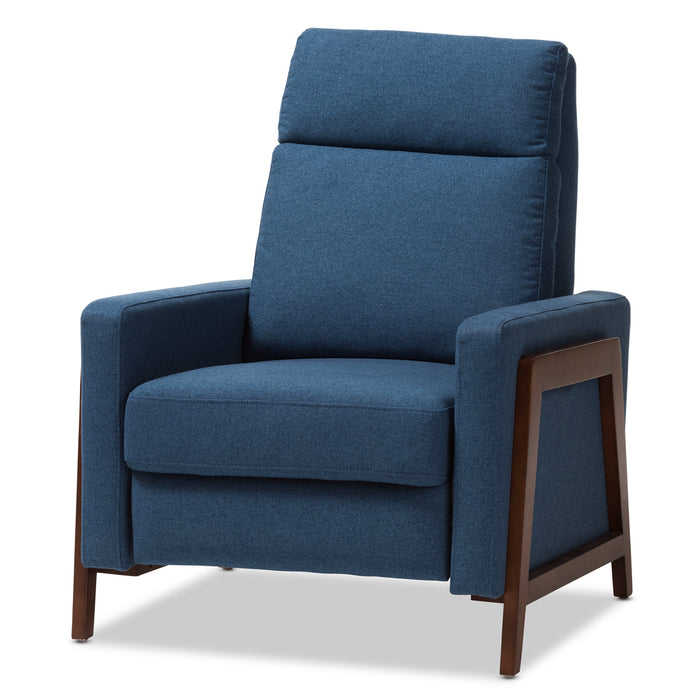 Baxton Studio Halstein Mid-century Modern Blue Fabric Upholstered Lounge Chair Baxton Studio-chairs-Minimal And Modern - 1