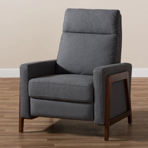 Baxton Studio Halstein Mid-century Modern Grey Fabric Upholstered Lounge Chair Baxton Studio-chairs-Minimal And Modern - 3