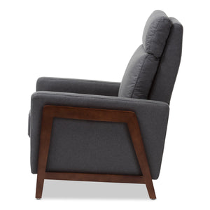 Baxton Studio Halstein Mid-century Modern Grey Fabric Upholstered Lounge Chair Baxton Studio-chairs-Minimal And Modern - 8